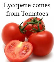 Lycopene comes from tomatoes